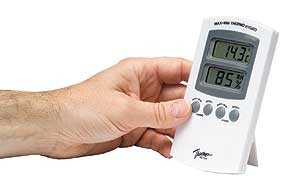 Home humidity meter gives temperature and relative humidity.