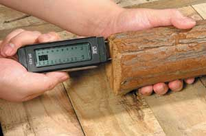 Damp Meter measuring wood moisture content